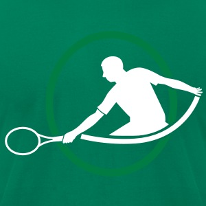 tennis man hitting swing hit T-Shirts - Men's T-Shirt by American Apparel