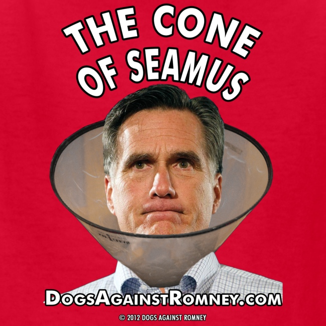 """Official Dogs Against Romney """"Cone of Seamus"""" Kid's Tee"""