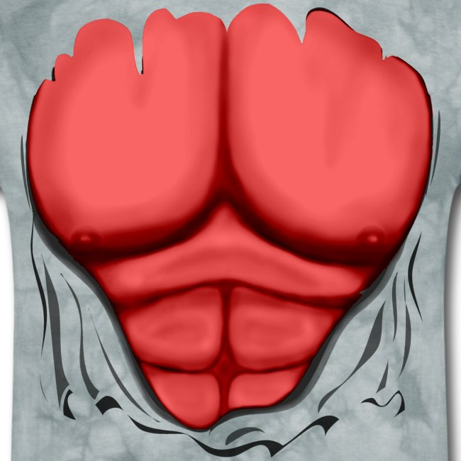 Ripped Muscles Red, six pack, chest t-shirt