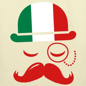 Italian nation fashionable vintage iconic gentleman with flag and Moustache olympics sports italy country Bags  - Eco-Friendly Cotton Tote
