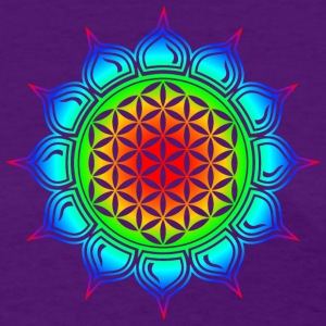 Flower of life, Lotus-Flower, Heart Chakra, Rainbow, energy symbol, healing symbol Women's T-Shirts - Women's T-Shirt