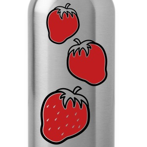 Three 3 cute strawberry fruit fruits  Accessories - Water Bottle