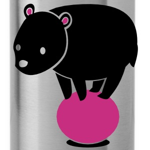cute kawaii grizzly bear on a ball Accessories - Water Bottle