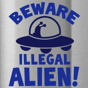 BEWARE! ILLEGAL ALIEN! with UFO spacecraft Accessories - Water Bottle