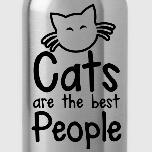 CATS are the best people! with cute little kitty cat and whiskers Accessories - Water Bottle