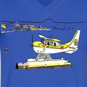 Airplane art Men's V-Neck T-Shirt by Canvas - Men's V-Neck T-Shirt by Canvas