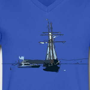 Sailing boat  art Men's V-Neck T-Shirt by Canvas - Men's V-Neck T-Shirt by Canvas