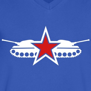 STar tank military army navy fighter stars emblem T-Shirts - Men's V-Neck T-Shirt by Canvas