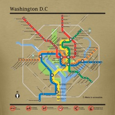 Washington DC subway map lines t-shirt