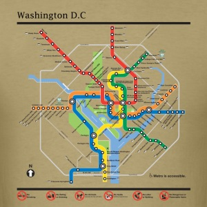 Washington DC subway map lines t-shirt - Men's T-Shirt