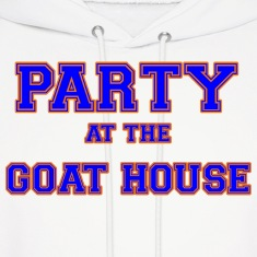 party_at_the_goat_house_blue Hoodies