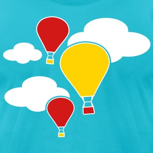 hot air balloons flying with clouds  T-Shirts - Men's T-Shirt by American Apparel
