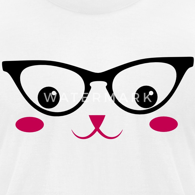 cute retro cat face kawaii with cats-eye glasses T-Shirts - Men's T-Shirt by American Apparel