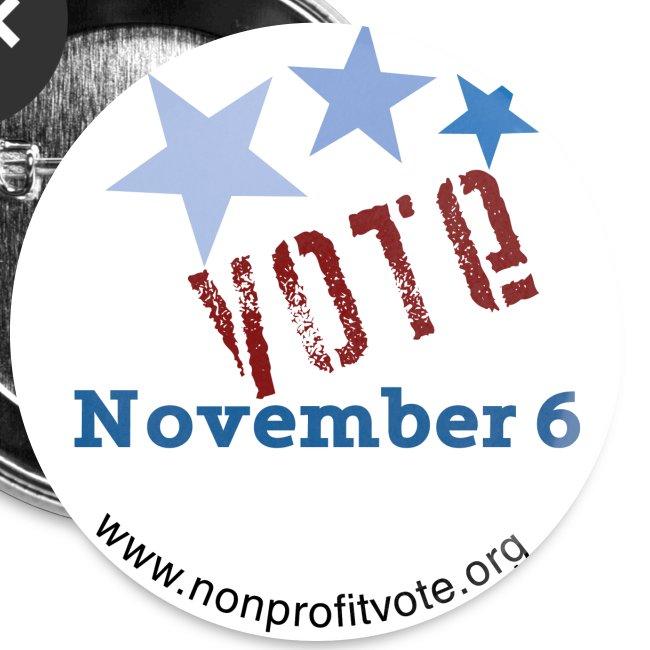 Vote November 6 White Button - 3 Stars