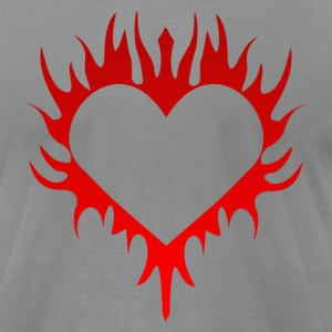 Flaming Heart - Men's T-Shirt by American Apparel