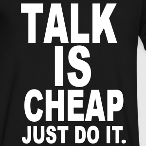 Talk Is Cheap Just Do It - Men's V-Neck T-Shirt by Canvas