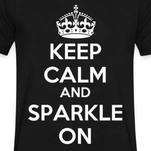 Keep Calm and Sparkle On T-Shirts - Men's V-Neck T-Shirt by Canvas