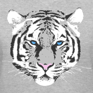 white tiger blue eye Women's T-Shirts - Women's V-Neck T-Shirt