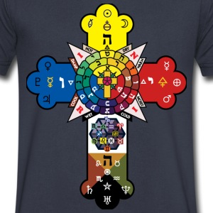 Celtic Astrology Cross T-Shirts - Men's V-Neck T-Shirt by Canvas