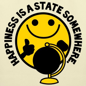 HAPPINESS is a STATE somewhere! with yellow smiley and a world globe Bags  - Eco-Friendly Cotton Tote
