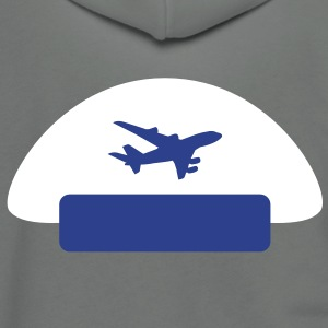pilot hat with a plane shape as an emblem Zip Hoodies/Jackets - Unisex Fleece Zip Hoodie by American Apparel