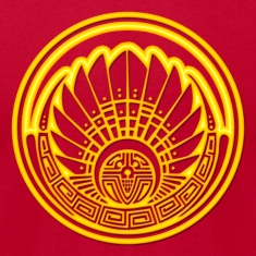 Crop circle - Mayan mask - gold - Silbury Hill 2009 - Quetzalcoatl - Native Americans - Aztec - Venus - 2012 - Symbol New Age / T-Shirts