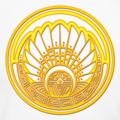 Crop circle - Mayan mask - gold - Silbury Hill 2009 - Quetzalcoatl - Native Americans - Aztec - Venus - 2012 - Symbol New Age / Long Sleeve Shirts