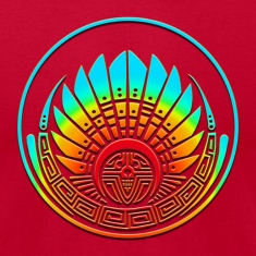 Crop circle - Mayan mask - Silbury Hill 2009 - Quetzalcoatl - Native Americans - Aztec - Venus - 2012 - icon new age / T-shirts (manches courtes)