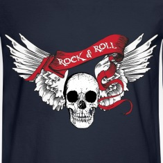 Rock n Roll Skull Wings Long Sleeve Shirts