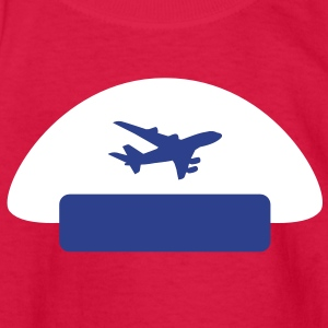 pilot hat with a plane shape as an emblem Kids' Shirts - Kids' Long Sleeve T-Shirt