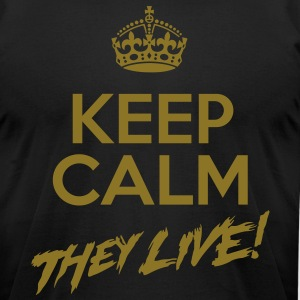 Keep Calm They Live Metallic Gold Print(AA BK) - Men's T-Shirt by American Apparel