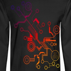Colorful Circuit LARGE PRINT Long Sleeve Shirts