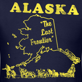 Design ~ Alaska, The Last Frontier vintage mens t-shirt