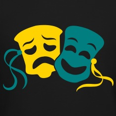 happy sad masks symbol of the theatre acting Long Sleeve Shirts
