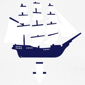 Sky/navy Tri-Masted Spanish Galleon Men - Men's Ringer T-Shirt