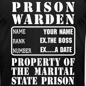 Warden, Marriage State Prison, personalize for bachelor / bachelorette / anniversary parties - Men's T-Shirt by American Apparel