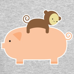Baby Monkey Riding Backwards on a Pig - Crewneck Sweatshirt