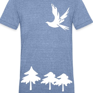 Trees & Dove bird Men's Tri-Blend Vintage T-Shirt by American Apparel - Unisex Tri-Blend T-Shirt