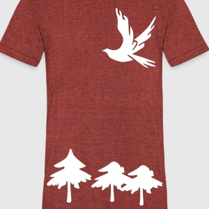 Trees & Dove bird Men's Tri-Blend Vintage T-Shirt by American Apparel - Unisex Tri-Blend T-Shirt by American Apparel