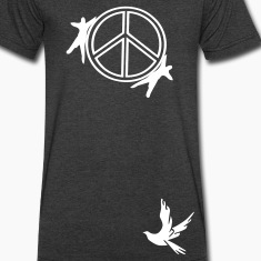 Peace symbol & dove bird  Men's V-Neck T-Shirt by Canvas