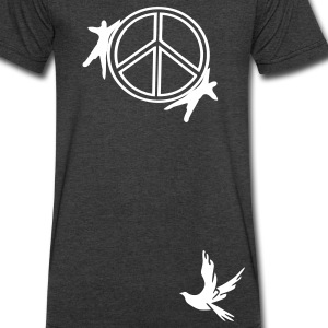 Peace symbol & dove bird  Men's V-Neck T-Shirt by Canvas - Men's V-Neck T-Shirt by Canvas