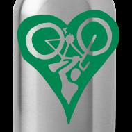 Design ~ Green Bike Love Water Bottle