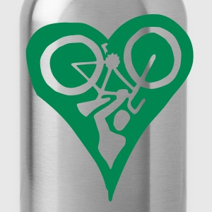 Green Bike Love Water Bottle - Water Bottle