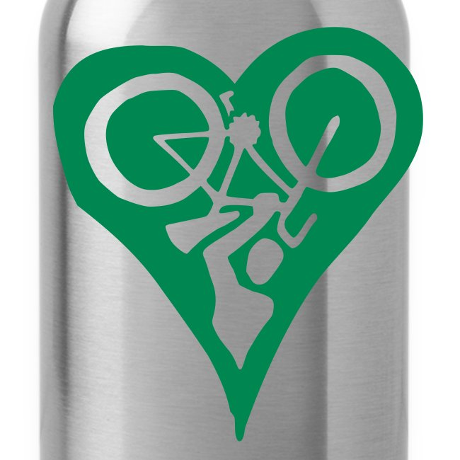 Green Bike Love Water Bottle