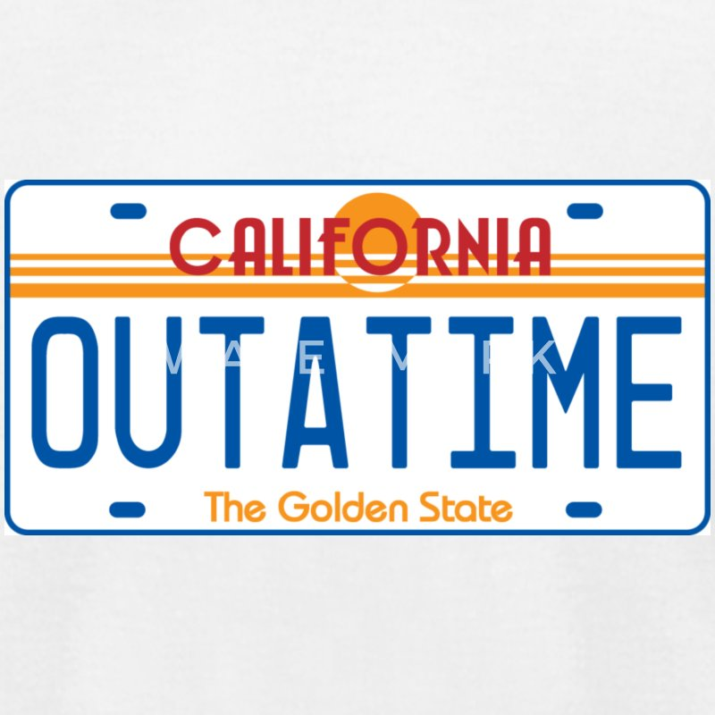 White OUTATIME License Plate T-Shirts - Men's T-Shirt by American Apparel