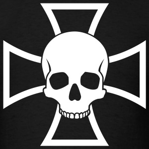 Black Skull and Iron Cross Men - Men's T-Shirt