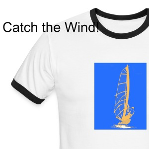 Catch the Wind! white t-shirt with black trim - Men's Ringer T-Shirt