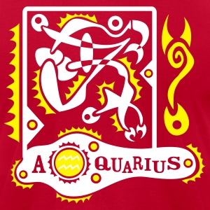 Red Aquarius-Zodiac-Sign Men - Men's T-Shirt by American Apparel