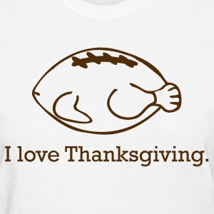 Thanksgiving Turkey & Football - Women's T-Shirt