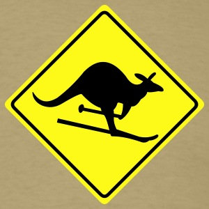 Khaki roadsign kangaroo Men - Men's T-Shirt